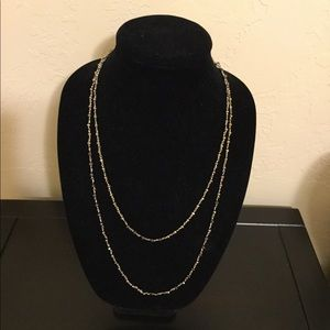 Stella & Dot silver chain with bronze beads